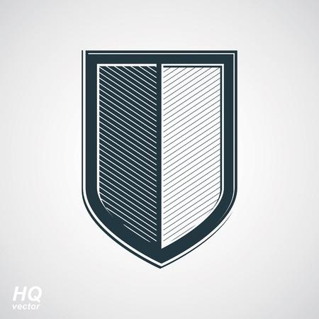 escudo de armas: Escudo de defensa vector escala de grises, dise�o de protecci�n elemento gr�fico. Ilustraci�n de alta calidad en el tema de la seguridad - escudo retro de las armas.