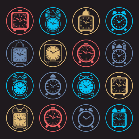 clang: Simple alarm clocks with clock bell, vector wake up icons collection. Graphic design elements, time idea. Illustration