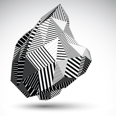 triangle objects: Multifaceted asymmetric contrast figure with parallel lines. Striped monochrome misshapen abstract vector object constructed from graffiti triangles and rectangles. Stencil element.