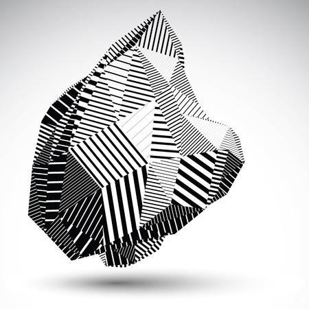 objetos cuadrados: Polifacética figura de contraste asimétrico con líneas paralelas. Monocromo rayada deforme objeto vectorial abstracto construido a partir de triángulos y rectángulos de graffiti. Elemento de la plantilla.