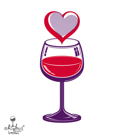 rendezvous: Valentine's day theme vector illustration. Design wineglass with loving heart, romantic rendezvous concept, lifestyle and leisure.