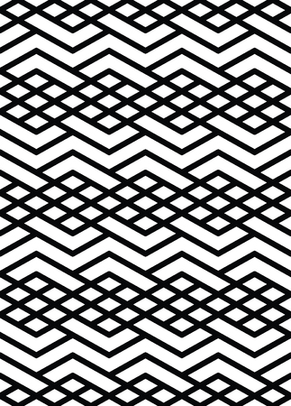surface covering: Monochrome geometric art seamless pattern, vector mosaic black and white interweave background. Symmetric illusive artificial backdrop. Illustration