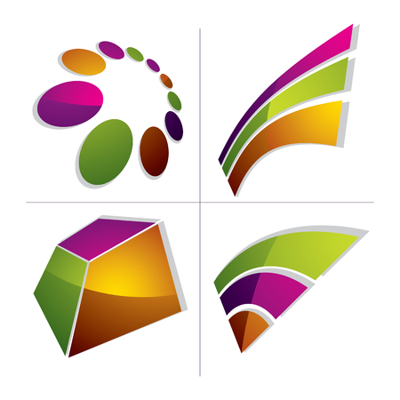 graphical user interface: Three-dimensional colorful graphical icons set isolated on white, collection of teamwork idea vector design element. Abstract company special symbol. Illustration