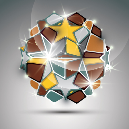 dazzling: Dimensional metal dazzling orb with gold stars. Vector festive geometric illustration - eps10 shiny stone.