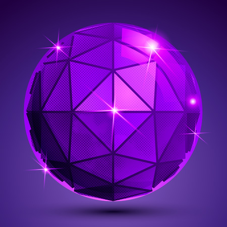 radiance: Dotted radiance plastic contemporary spherical object with flashes, pixilated sparkle purple globe.