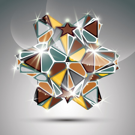facet: Party 3D metal glossy kaleidoscope object. Vector festive geometric illustration - eps10 shiny facet gemstone.