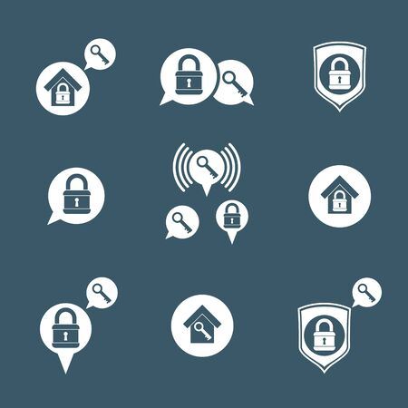 safe house: House security protection vector icons set, home, house, padlock and key, creative and unusual symbols collection.