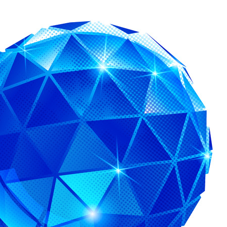 fond: Plastic pixilated backdrop with glossy 3d spherical object, reflective fond with colored globe synthetic dot element. Illustration