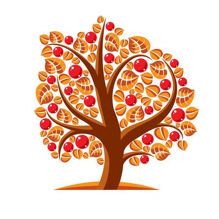 tree fruit: Tree with ripe apples, harvest season theme illustration. Fruitfulness and fertility idea symbolic image. Illustration