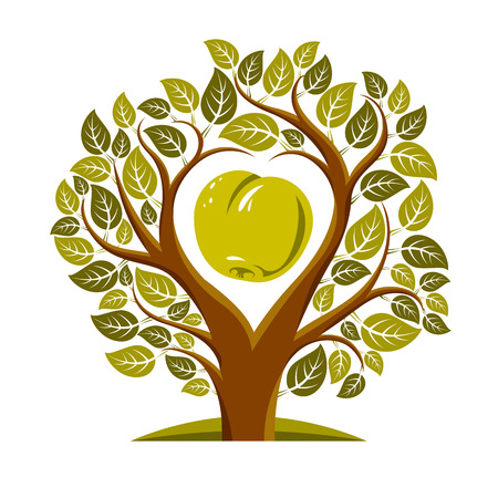 symbolic: Vector illustration of tree with leaves and branches in the shape of heart with an apple inside. Fruitfulness and fertility idea symbolic picture.