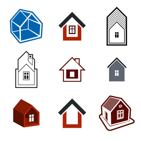 frontage: Set of stylish abstract architectural constructions, vector houses symbols, for use as branding in insurance, real estate business and engineering. Corporate symbol collection, design elements. Illustration