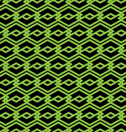 visual effect: Black and green abstract seamless pattern with interweave lines. Vector ornament wallpaper. Endless decorative background, visual effect geometric tracery with rhombs. Illustration