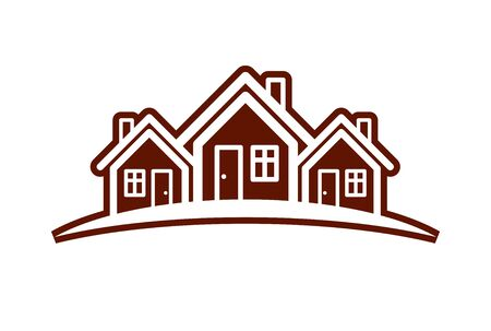 touristic: Colorful holiday houses vector illustration, home image with horizon line. Touristic and real estate creative emblem, cottages front view. Illustration
