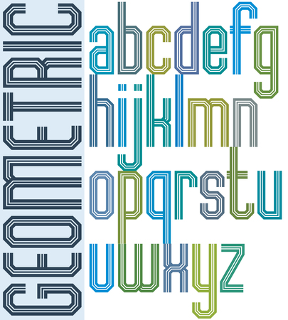 triple: Retro colorful font with triple lines, geometric poster letters.