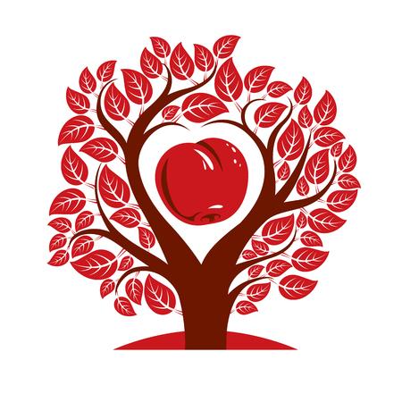 Ilustracji wektorowych z drzewa z gałęzi w kształcie serca z jabłkiem w środku, miłości i macierzyństwa pomysł obrazu. Drzewo życia motywu ilustracji. Ilustracje wektorowe