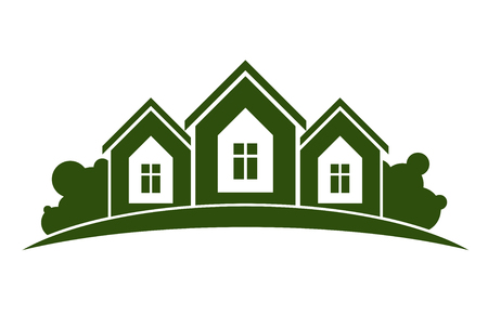abstract vector: Abstract vector illustration of country houses with horizon line. Village theme picture – green house. Simple buildings on nature background, graphic emblem for advertising and real estate.