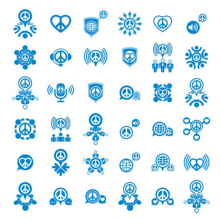 peace on earth: Peace earth and society unusual vector icons set, creative symbols collection, stylish templates.