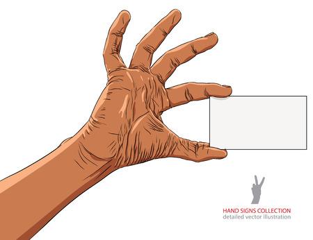 advertize: Hand showing business card, African ethnicity, detailed vector illustration. Illustration