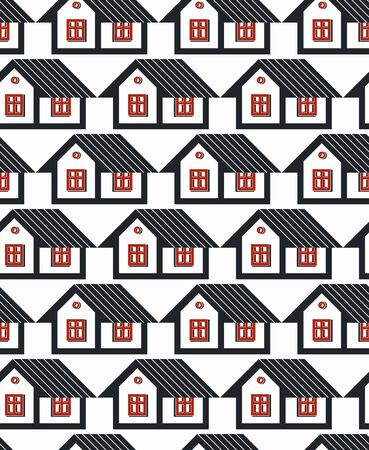 frontage: Real estate theme symmetric vector seamless pattern, abstract houses depiction. Property developer idea, for use in graphic design.
