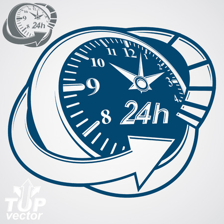 3d vector round 24 hours clock with arrow around, simple version included. Business graphic perspective timer. Twenty-four hours a day conceptual elegant icon.