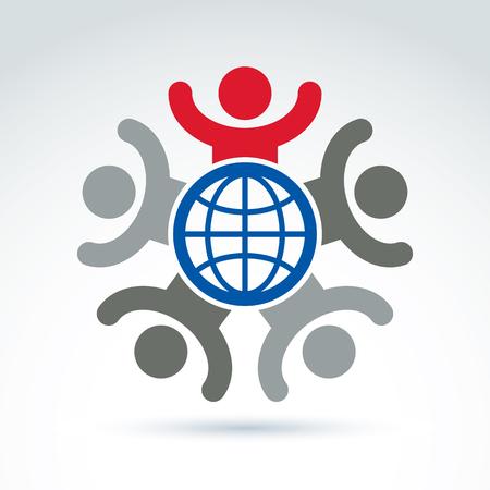 meridiano: Ilustración de un grupo de personas con las manos arriba de pie alrededor de un signo de Tierra, el equipo directivo emocionado. Branding global de negocios icono conceptual. Vectores