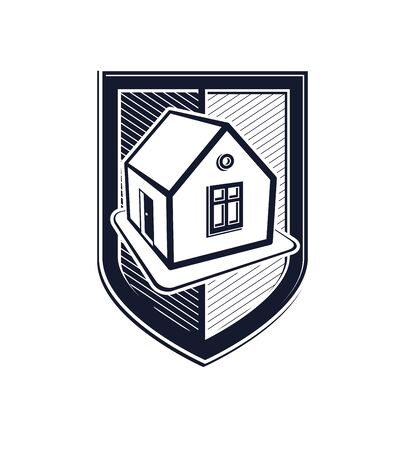 blazonry: Home insurance vector conceptual icon, protection shield with simple house. Design element, construction idea. Heraldry. Illustration