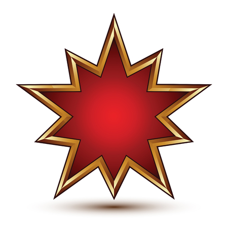 signet: Heraldic 3d glossy star shaped icon with golden outline, Graphic signet, clear EPS 8 vector.