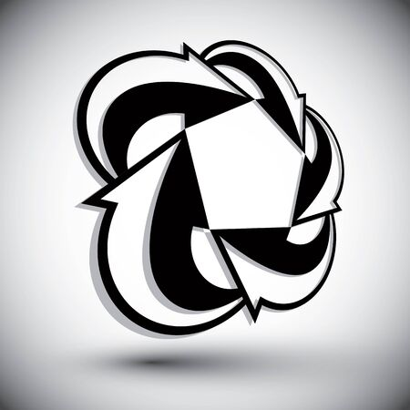 single color: Abstract arrows vector symbol, vector graphic design template, vector 3d single color icon.