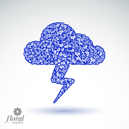 cloudburst: Thunder and lightning meteorology pictogram. Weather forecast floral simple marking – stylized weather conditions symbol, best for use in graphic and web design.