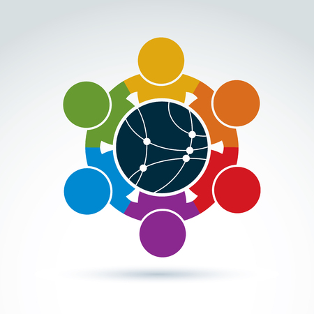 Vector colorful illustration of people standing around a round network sign, management team. Global business branding conceptual icon. Connection idea.
