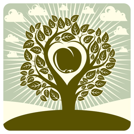 motherhood: Vector illustration of tree with branches in the shape of heart with an apple inside, beautiful spring landscape. Love and motherhood idea image.