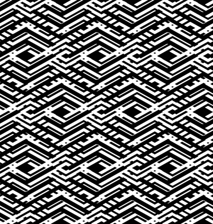 intertwine: Black and white abstract textured geometric seamless pattern. Symmetric monochrome vector textile backdrop. Intertwine maze figure background.