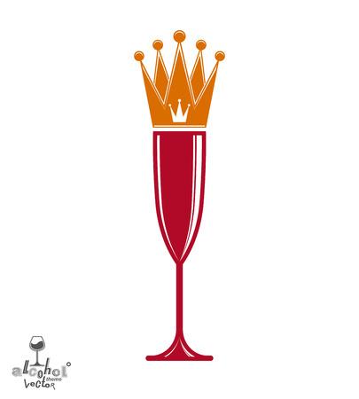 glas sekt: Sektglas mit K�nigskrone, dekorative Becher voll mit Sekt. K�nigin des Abends konzeptionelle Illustration, Feier Thema eps8 Objekt. Illustration