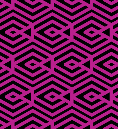 intertwine: Colorful geometric seamless pattern, symmetric endless vector background with intertwine magenta lines. Abstract concept splicing covering.