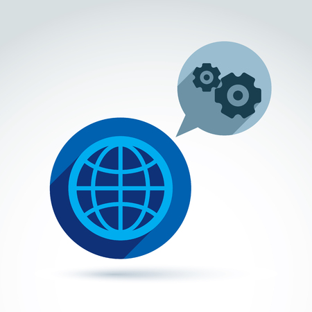 business gears: Vector illustration of an organization system, strategy concept. Cog-wheels and gears placed in a speech bubble. Global business and manufacturing process theme. Earth symbol.