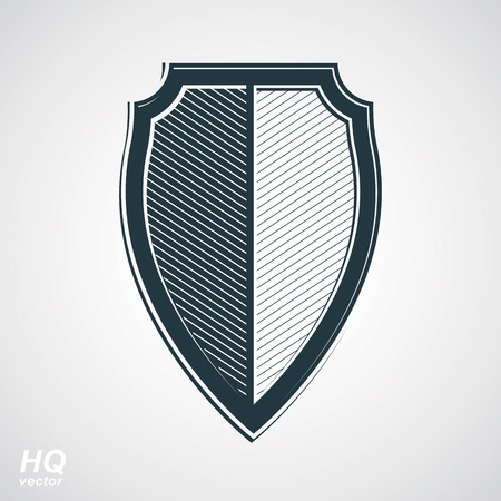 Vector grayscale defense shield, protection design graphic element. High quality illustration on security theme - retro coat of arms.
