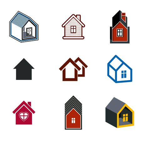 locality: Simple cottages collection, real estate and construction theme. Houses vector illustration with heart symbol.
