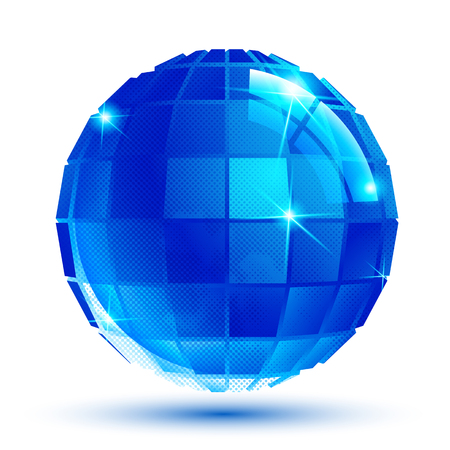 facet: Bright facet dimensional sparkle eps10 spherical object isolated on white background.