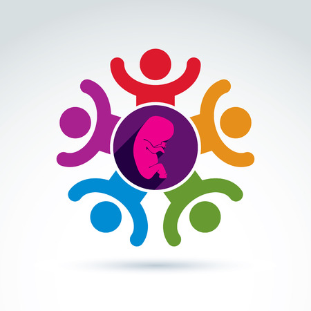 abortion: Pregnancy and abortion idea, baby embryo symbol. Vector colorful Illustration of a group of excited people with hands up - international association for baby life protection.