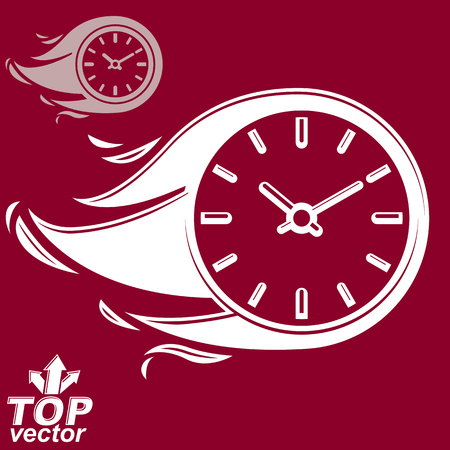 clear out: Vector timer with burning flame, includes invert version. Time is running out concept, eps 8 clear vector illustration. Deadline theme stylized illustration.
