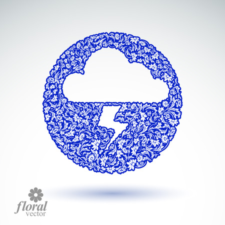 marking: Thunder and lightning meteorology pictogram. Weather forecast floral simple marking – stylized weather conditions symbol, best for use in graphic and web design.