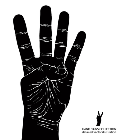 simbolos matematicos: Numbers hand signs set, number four, detailed black and white vector illustration.