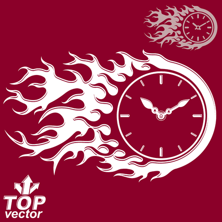 clear out: Vector elegant timer with burning flame, invert version included. Time is running out concept, eps 8 clear vector illustration. Deadline theme stylized illustration – time management. Illustration