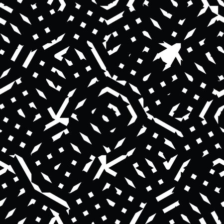 охватывающей: Monochrome messy seamless pattern with parallel lines, black and white infinite geometric mosaic textile, abstract vector textured web visual covering. Иллюстрация