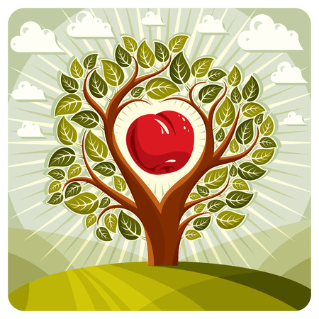 Vector illustration of tree with branches in the shape of heart with an apple inside, beautiful spring landscape. Love and motherhood idea image.