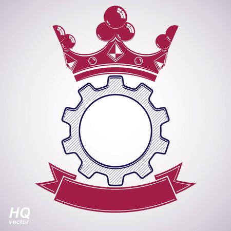 conceptual symbol: Vector industrial design element, cog wheel with a coronet and red decorative curvy ribbon. High quality manufacturing gear icon. Best engineering project award conceptual symbol. Royal heraldic coat of arms. Illustration