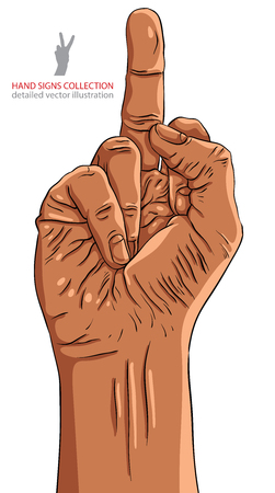 obscene gesture: Middle finger hand sign, African ethnicity, detailed vector illustration.