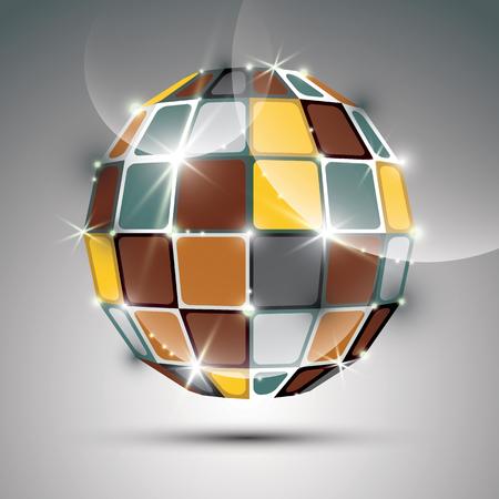 gold globe: 3D metal gold futuristic globe created from geometric element. Vector festive illustration - eps10 fractal bright stone. Illustration
