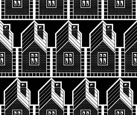 estate planning: Monochrome houses and cottages continuous vector background, real estate theme.  District idea contrast seamless pattern. Illustration