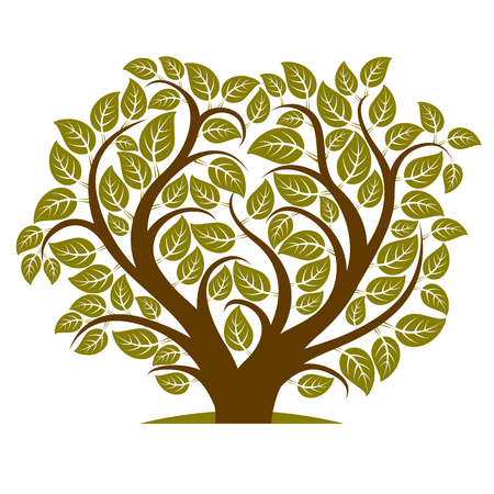 love image: Vector illustration of tree with branches in the shape of heart with, love and motherhood idea image. Ecology conservation theme illustration.